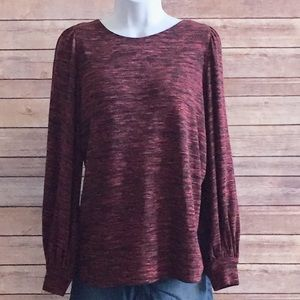 Max Studio Red bubble sleeve top